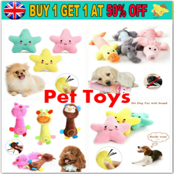 Soft Pet Dog Cat Play Chew Sound Funny Squeaker Squeaky Cute Plush Puppy Toys $6.49