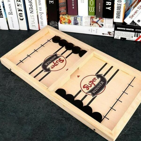 Fast Sling Puck Game Wooden Board Table Hockey Game Party Children Toys