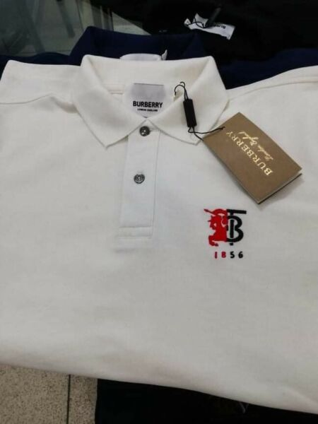 BURBERRY LONDON MEN#x27;S POLO OUTLET SHORT SLEEVE  SHIRT WHITE Color size Medium $75.00