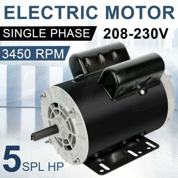 5HP SPL Air Compressor Electric Motor 1 Phase 3450 RPM 56 Frame 5 8quot; Shaft ODP $189.96