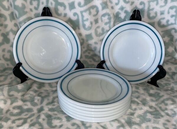 """8 Pyrex Tableware by Corning Plate s teal Bands Bread Plate 704 USA 6.75"""" Milk"""