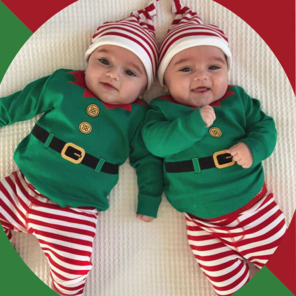 Infant Baby Girls Boys Christmas Elf Rompers TopStriped Pants Hat Outfits Set