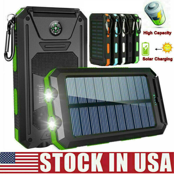 2000000mAh Solar Power Bank LED Dual USB Backup Battery Charger Fr Mobile Phone