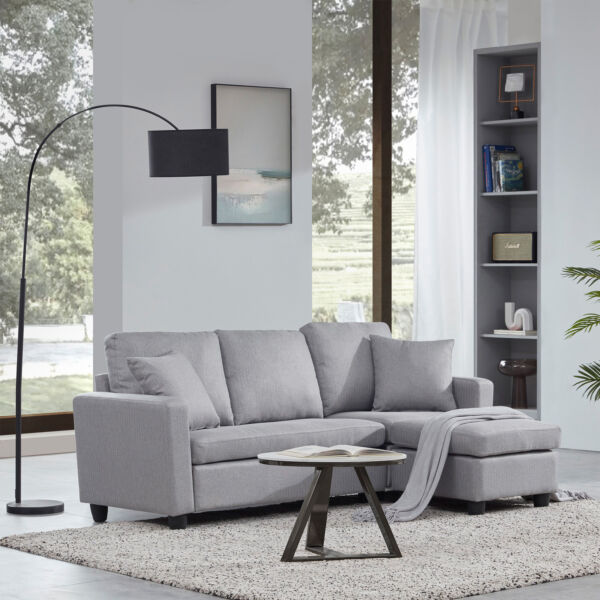 Linen Faux Leather Sectional Sofa L shaped Couch 3 Seat W Reversible Chaise