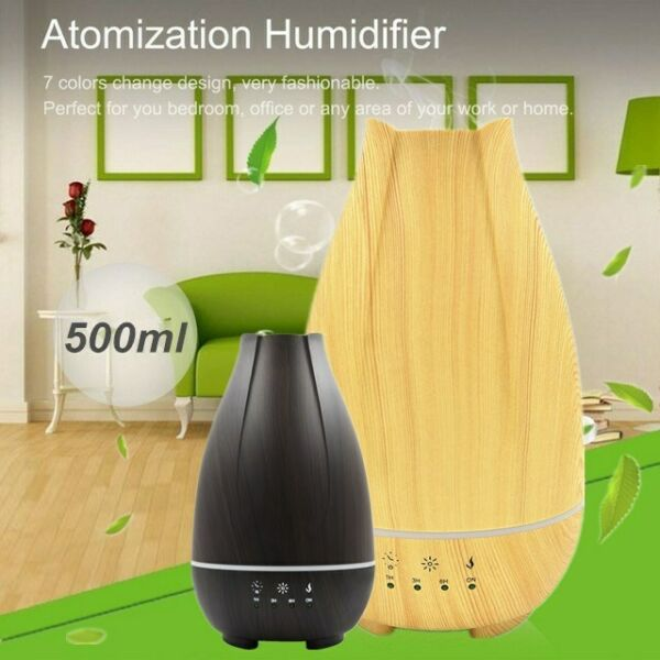 500ML Wood Humidifier LED Air Aroma Essential Oil Diffuser Aromatherapy Atomizer $31.99