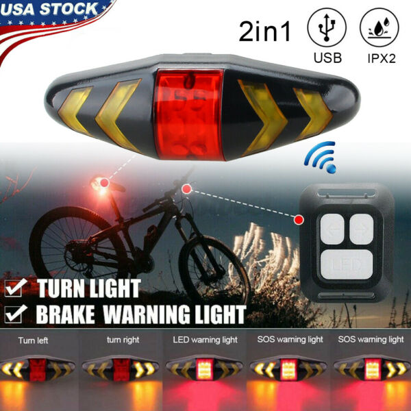 Wireless LED Bicycle Bike Rear Tail Light USB Rechargeable Warning Turn Signal $13.93