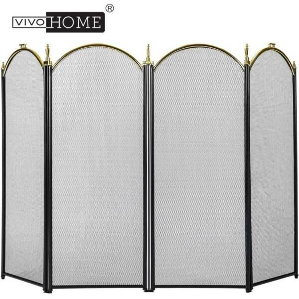 Fireplace Folding 4 Panel Mesh Fireplace Screen Doors 51.5 x 32inch Wrought Iron