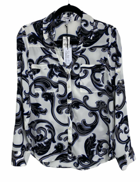 Express Womens NWT Medium Floral Pattern Button Front Long Sleeve Slim Fit Top