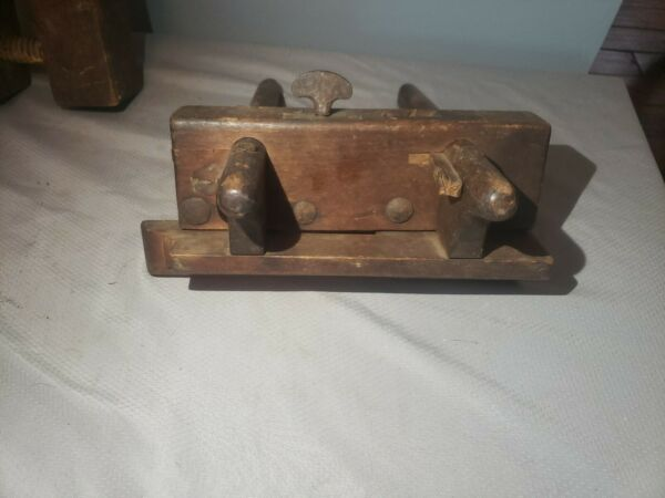 Antique Plow Wood Plane Plough signed W.C.