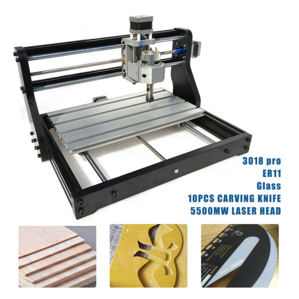 CNC 3018 PRO Engraving Machine 5500mw Laser Head DIY Router Engraver 3 Axis PCB $238.00