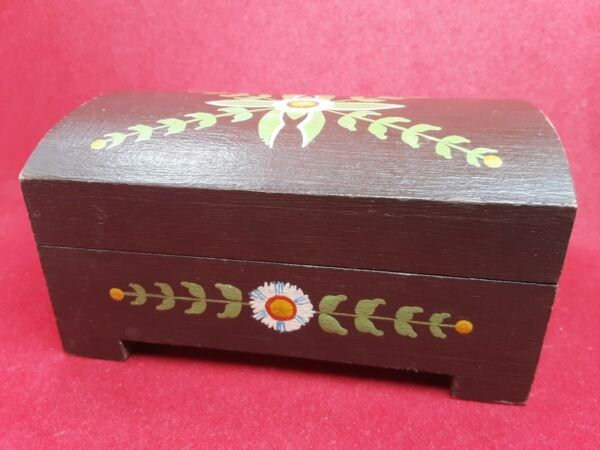 Vintage Wooden Handpainted Small Storage Box