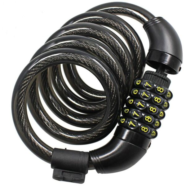 Bike Lock Cable High Security 5 Digit Resetable Bicycle Combination Coiling $9.99