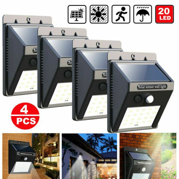 4PK 20LEDs PIR Motion Sensor Wall Light Outdoor Garden Solar Power Lamps Night