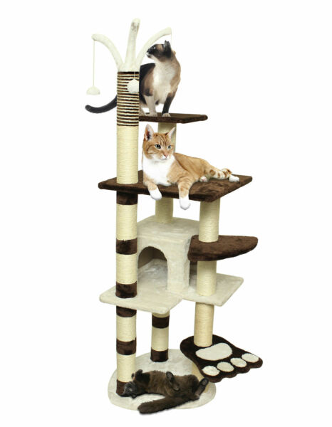 """64"""" Brown White Pet Cat Tree Play Tower Condo Bed House Scratch Post Toy Balls $22.99"""