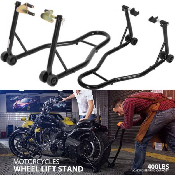 Motorcycle Bike Stand Front Rear Wheels Lift Forklift Spoolift Paddock Swingarm $79.99