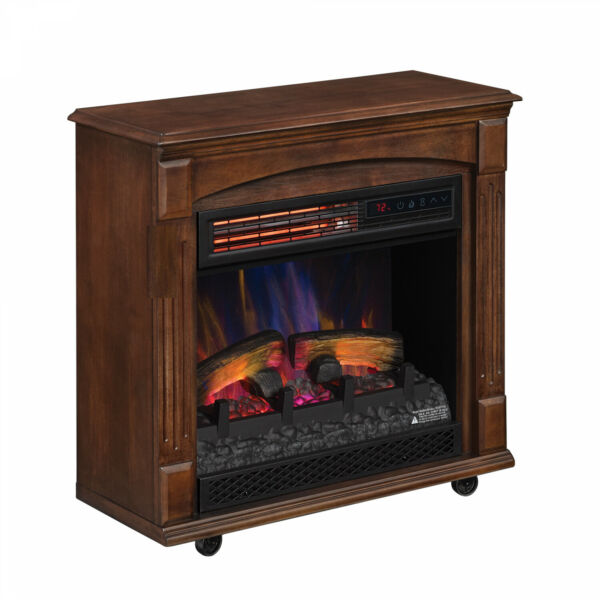 LED Flame Electric Fireplace Infrared Quartz Heater Freestanding Rolling Mantel