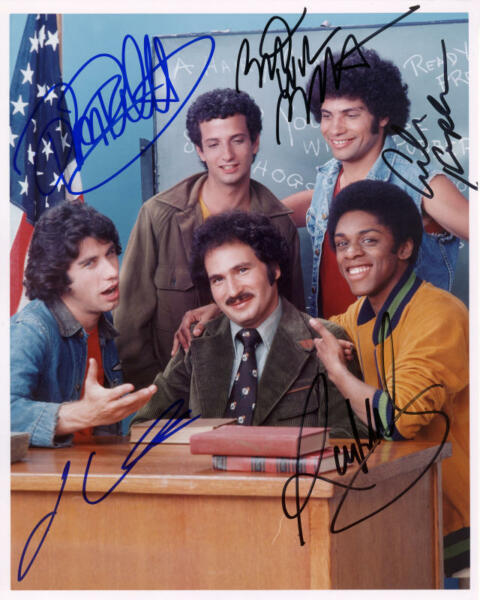 1976 *WELCOME BACK KOTTER* AUTOGRAPHED 8X10 PHOTO CAST X5 SIGNED REPRINT