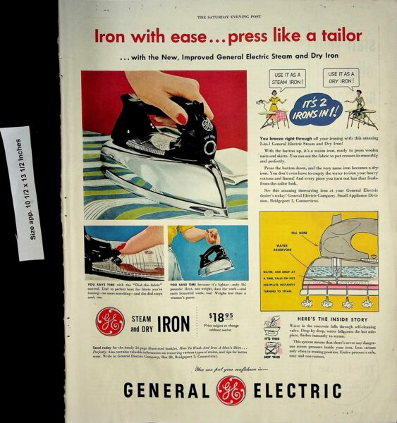 1952 General Electric Steam Dry Iron Vintage Print Ad 7156