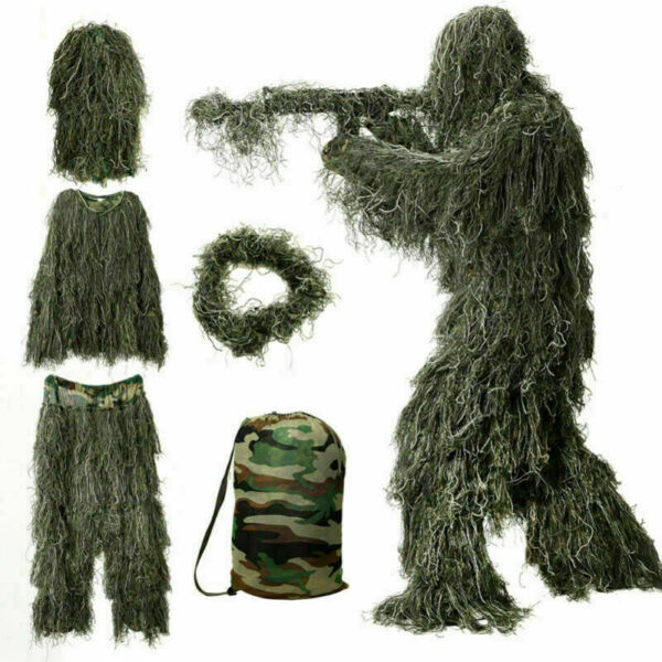 5Pcs Ghillie Suit Leaf Camo 3D Outdoor Woodland Camouflage Forest Hunting w Bag