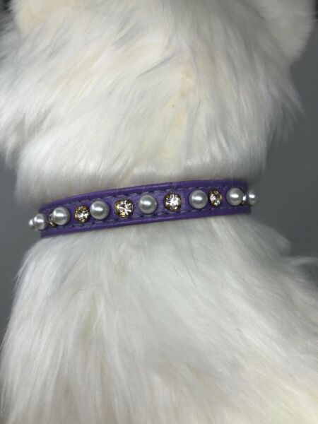 Dog Rhinestone Collar Made In USA Pearl amp; Clear Crystal Purple 8 10quot; $8.00
