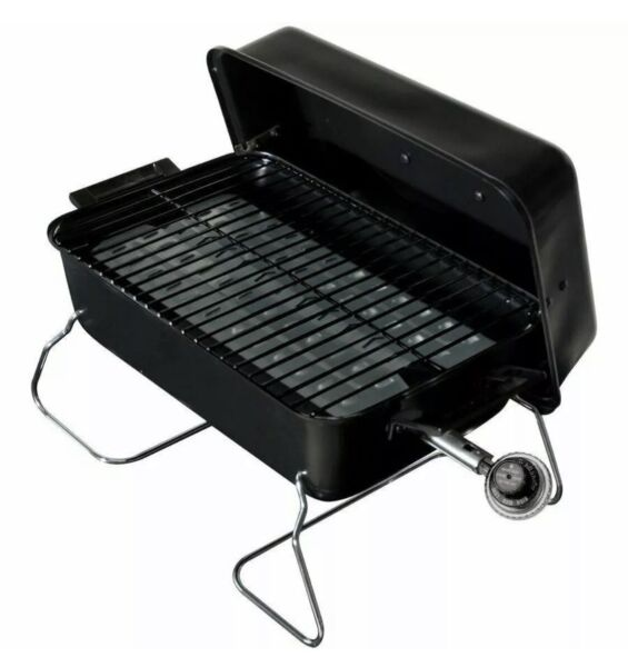 Portable Gas Grill Outdoor Cooking Propane Black Heat Resistant Handles New