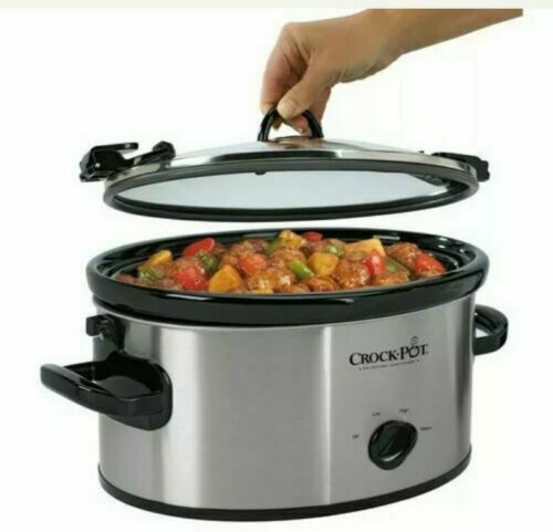 Crock Pot Cook amp; Carry 6 qt Stainless Black Slow Cooker New