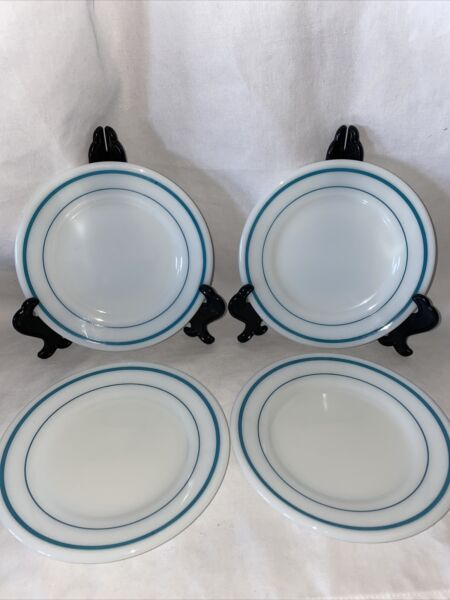 """4 Pyrex Tableware by Corning Plate s Teal Bands Bread Plate 704 USA 6.75"""" Milk"""