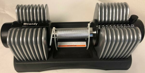 Mtrendy 5 50 lbs Adjustable Dumbbell Silver Single Pair Weight Exercise New