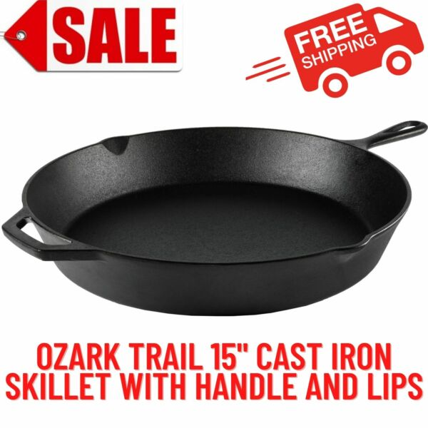15 inch Cast Iron Skillet With Handle amp; Lips Kitchen Home amp; Outdoors Cookware