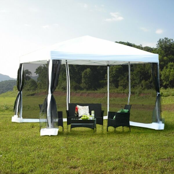 Outdoor Gazebo Canopy 10#x27;x10#x27; Pop Up Party Tent Mesh Mosquito Net Patio White