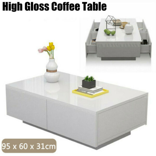 High Gloss Rectangular Coffee Table With Hidden Storage Living Room White Modern
