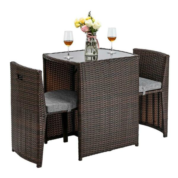 3PC Space Saving Patio In Outdoor Furniture Wicker Rattan Bistro Table Chair Set $142.99
