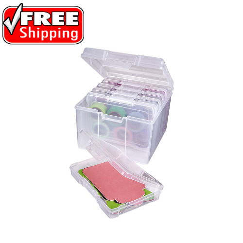 Photo amp; Craft Organizer Set Large Box with Plastic Storage Cases Inside Clear
