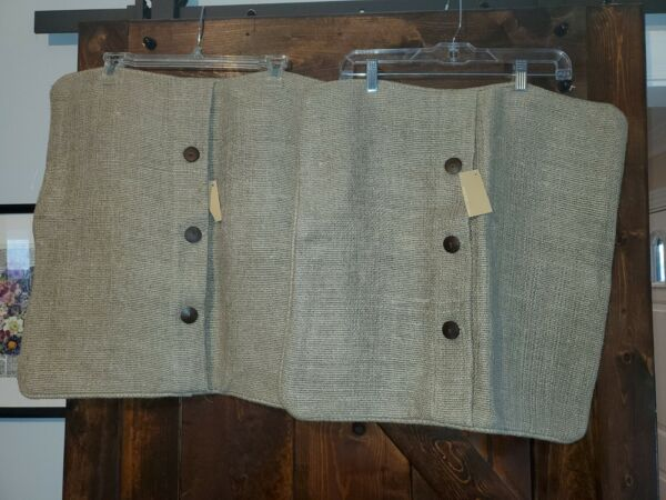 West Elm Linen burlap Textured look Pillow Covers 20x20 Button Closure NWT