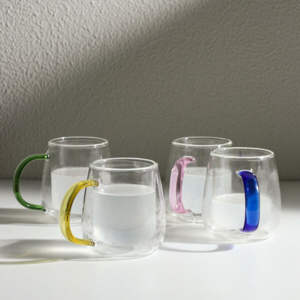 7.5oz Small Cute Double Wall Glass Coffee Mugs Cups with Unique Colorful Handles $22.99