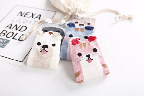 Cat Dog liner ankle socks Cute Cartoon faces trainer socks choice of colours GBP 3.50