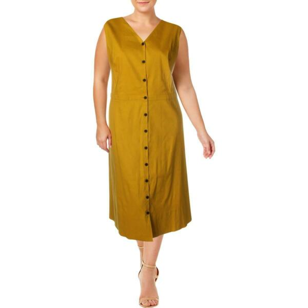 Alfani Womens Yellow Linen Fit amp; Flare Sleeveless Midi Dress Plus 18W BHFO 5597 $9.99