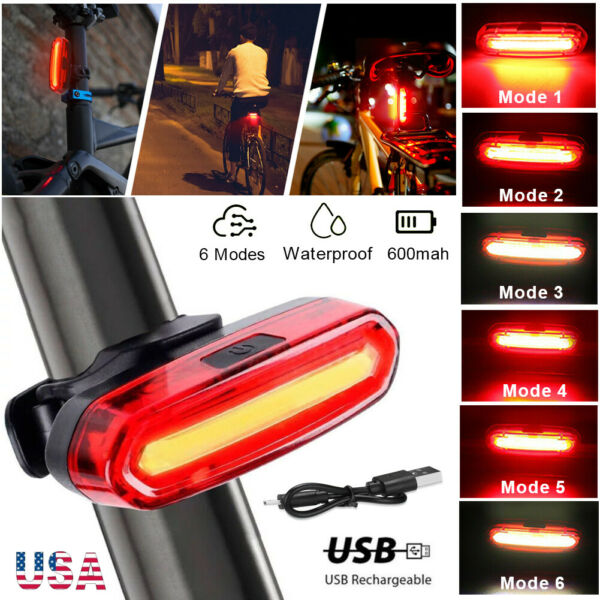 LED Bike Tail Light Rechargeable USB Bicycle Rear Cycling Warning Light 6 Modes $7.48
