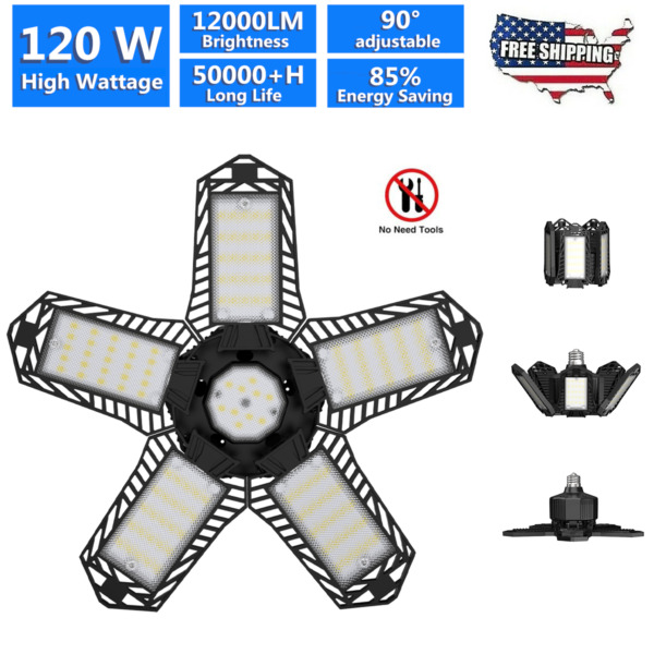 120W LED Garage Light Super Bright Shop Ceiling Lights Deformable 12000LM Bulb $20.89