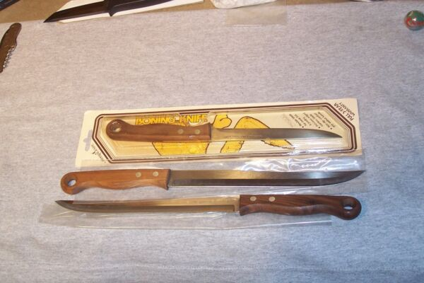 IMPERIAL THREE LARGE WOOD HANDLE KITCHEN KNIVES MADE IN USA NEVER USED