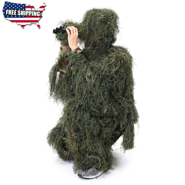 New Ghillie Suit Camo Woodland Camouflage Forest Hunting 3D 5 Piece Bag