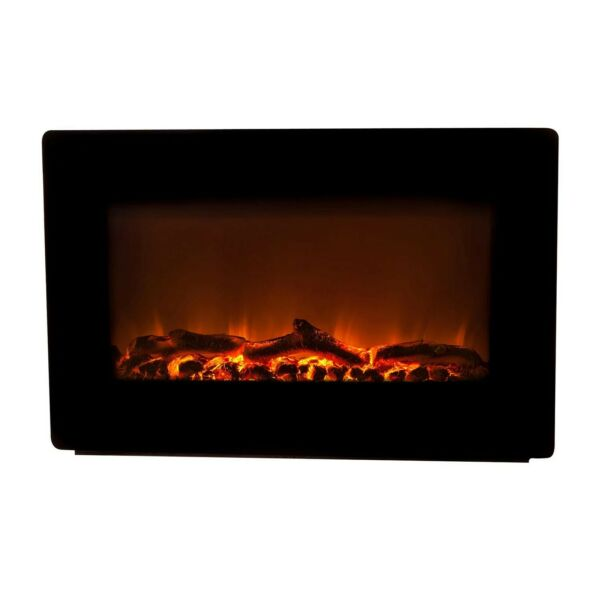 Fire Sense Black Wall Mounted Electric 32quot; Fireplace Log amp; Rock Heater Remote