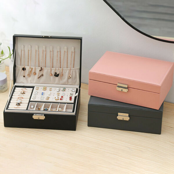 Double Layer Leather Jewellery Box Ornament Storage MultiFunction Large Box P1