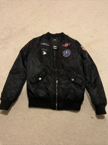 XRAY Jeans Black Stand Up Collar Patch Embellished Flight Jacket small