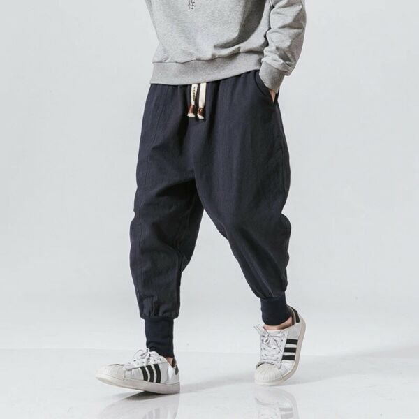 Men Harem Pants Japanese Casual Cotton Linen Stretch Elastic Trousers Joggers $25.43