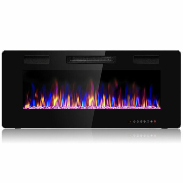 Electric Fireplace Recessed Ultra Thin Wall Mounted Heater Multicolor Flame 42quot;