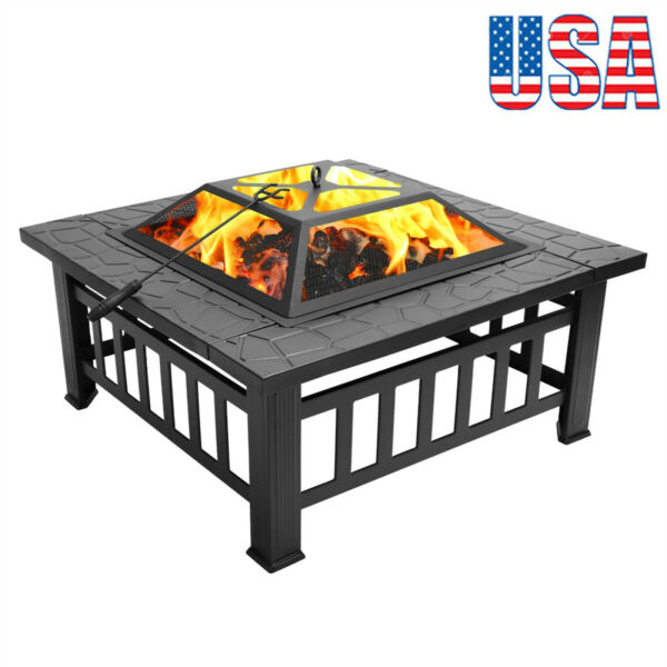 Portable Courtyard Metal Fire Bowl with Accessories Black Color USA Shipping