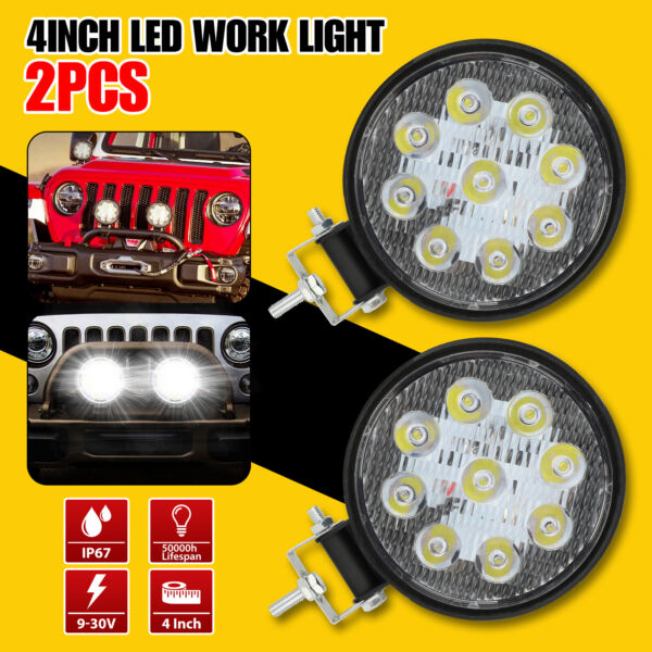 2x4quot; Round LED Spot Light Pods Work Flood Driving Fog Lamp Offroad 4WD ATV Truck