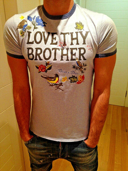 RRP €300 Authentic DSQUARED T shirt quot;LOVE THY BROTHERquot; 71XM520 Tag L GBP 130.00