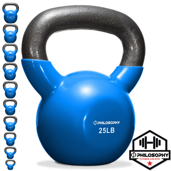 Vinyl Coated Cast Iron Kettlebell 5 lbs to 50 Pound Weights